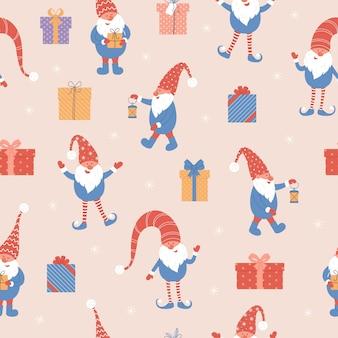 Padrão sem emenda de gnomos e presentes de natal fofos ilustração vetorial com gnomos de chapéus vermelhos
