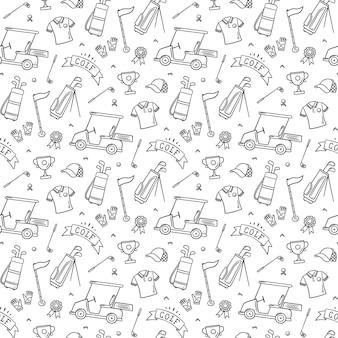 Padrão sem emenda de golfe em estilo doodle. mão desenhada ilustração vetorial no fundo branco