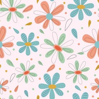Padrão sem emenda de grandes folhas brilhantes e flores