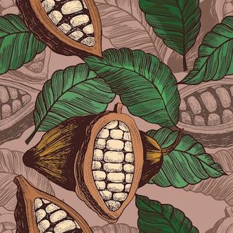 Padrão sem emenda de grãos de cacau em estilo vintage. ilustração vetorial gravada, isolada
