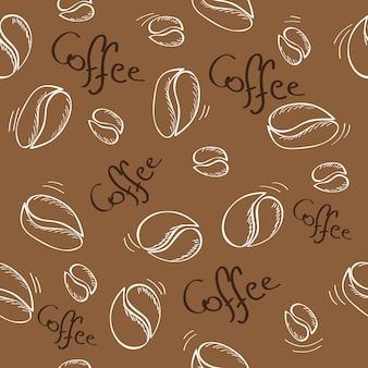 Padrão sem emenda de grãos de café desenhados à mão - ilustração vetorial