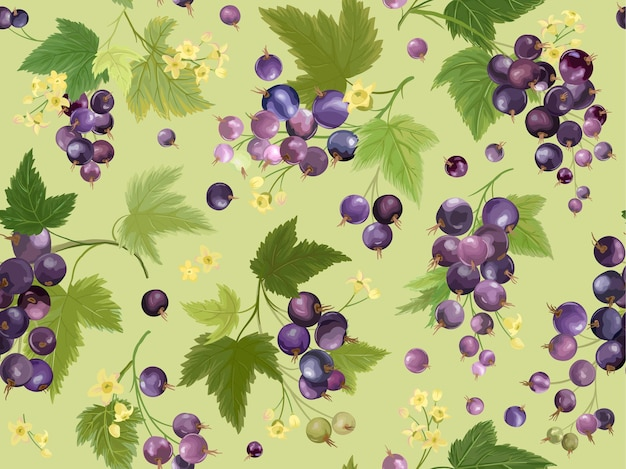 Padrão sem emenda de groselha preta em aquarela. bagas de verão, frutas, folhas, fundo de flores. ilustração vetorial para capa de primavera, textura de papel de parede tropical, pano de fundo, convite de casamento