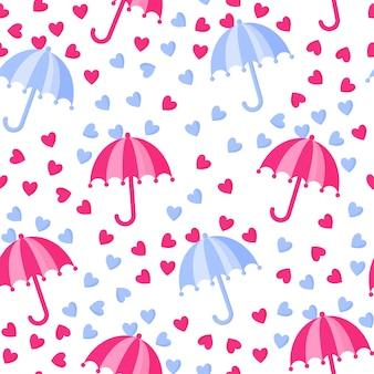 Padrão sem emenda de guarda-chuva com chuva do coração para o casamento ou dia dos namorados.
