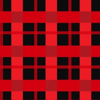 Padrão sem emenda de guingão vermelho e preto