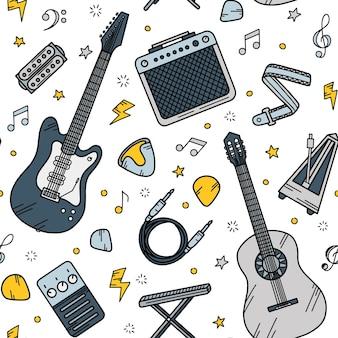 Padrão sem emenda de guitarra musical no estilo doodle