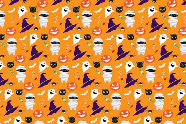 Padrão sem emenda de halloween bonito dos desenhos animados