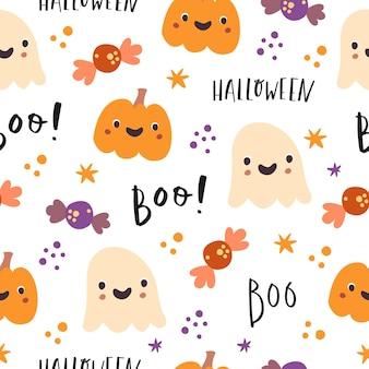 Padrão sem emenda de halloween boo