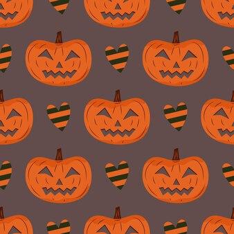 Padrão sem emenda de halloween com abóbora e corações