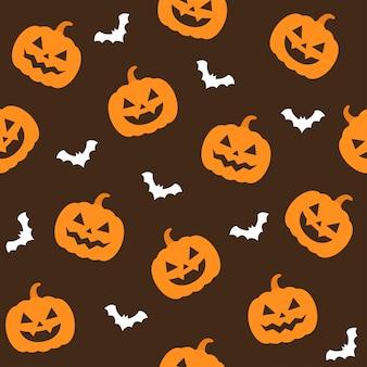 Padrão sem emenda de halloween com abóbora e morcegos