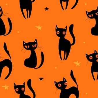 Padrão sem emenda de halloween com abóboras fofas, gato preto e outros elementos de halloween. fundo de vetor de halloween. eps 10