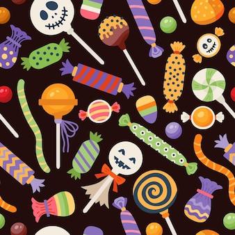 Padrão sem emenda de halloween com bombons doces