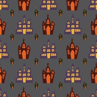 Padrão sem emenda de halloween com castelos escuros assustadores