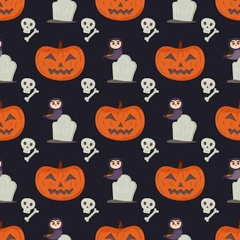 Padrão sem emenda de halloween com caveira e osso em lápide de coruja-abóbora
