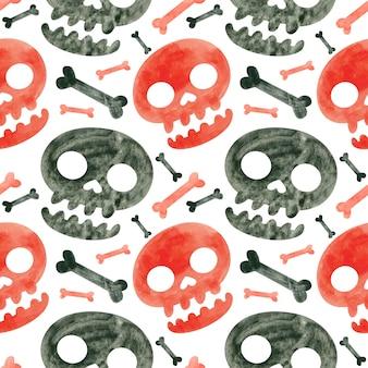 Padrão sem emenda de halloween com caveiras e ossos vermelhos e pretos papel digital assustador