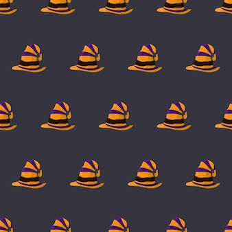 Padrão sem emenda de halloween com chapéu de bruxa. fundo sem fim. vetor.