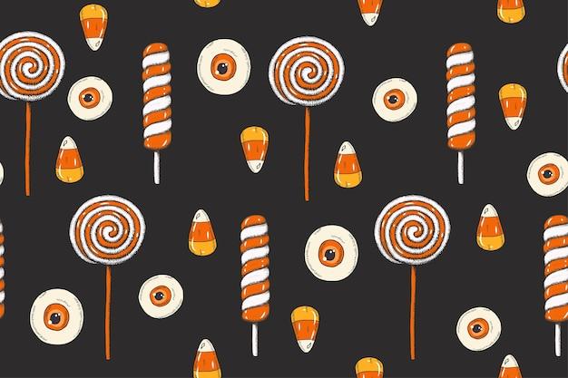 Padrão sem emenda de halloween com doces coloridos feitos à mão, milho doce, pirulitos no estilo de desenho.