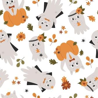 Padrão sem emenda de halloween com fantasmas bonitos.