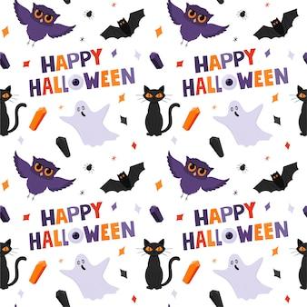 Padrão sem emenda de halloween com fantasmas, corujas, um gato e palavras de feliz dia das bruxas. fundo branco.