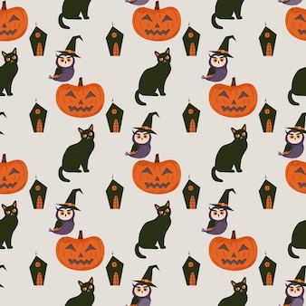 Padrão sem emenda de halloween com gato abóbora e coruja com chapéu de bruxa