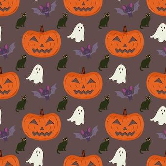 Padrão sem emenda de halloween com gato abóbora e morcego vampiro