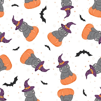 Padrão sem emenda de halloween com gato e abóbora.