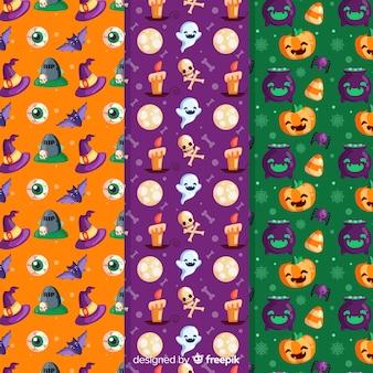 Padrão sem emenda de halloween com personagens festivas