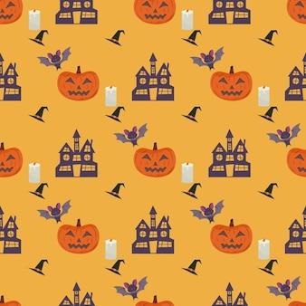 Padrão sem emenda de halloween com velas de gato de abóbora, chapéu de bruxa e morcego vampiro