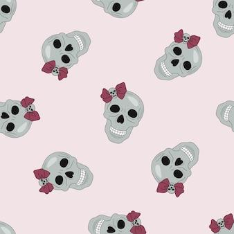 Padrão sem emenda de halloween crânio de festa