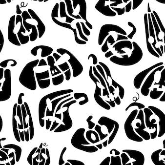 Padrão sem emenda de halloween de abóbora preta em fundo branco ilustração de desenho animado