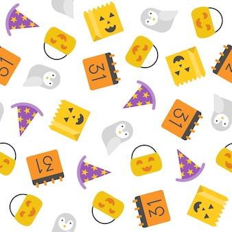 Padrão sem emenda de Halloween, design plano com máscara de recorte
