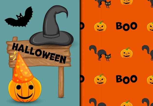 Padrão sem emenda de halloween e cartão de férias. estilo de desenho animado. ilustração vetorial.