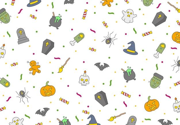 Padrão sem emenda de halloween, elementos de terror