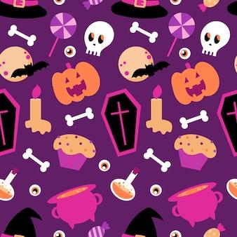 Padrão sem emenda de halloween em um fundo roxo. desenho animado