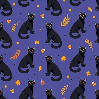 Padrão sem emenda de halloween gato preto, folhas de outono, ervas e doces em tons de laranja fundo roxo escuro. estilo de desenho animado de ilustração brilhante. para papel de parede, impressão em tecido, embalagem, fundo.