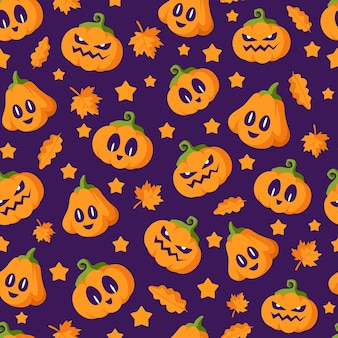Padrão sem emenda de halloween - lanternas de abóbora com rostos assustadores em fundo escuro