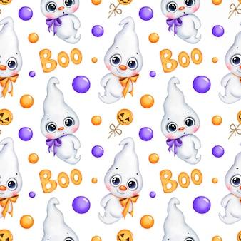 Padrão sem emenda de halloween mágico bonito dos desenhos animados. fantasmas, doces de abóbora, vaia de papel digital.