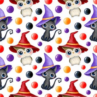 Padrão sem emenda de halloween mágico bonito dos desenhos animados. gato preto e coruja em um chapéu de bruxa.