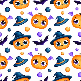 Padrão sem emenda de halloween mágico bonito dos desenhos animados. padrão sem emenda de abóboras de halloween.