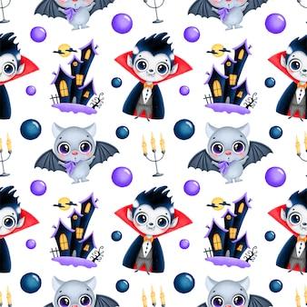 Padrão sem emenda de halloween mágico bonito dos desenhos animados. vampiro, morcego, casa assombrada, velas de papel digital.