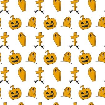 Padrão sem emenda de halloween no estilo doodle e desenho.