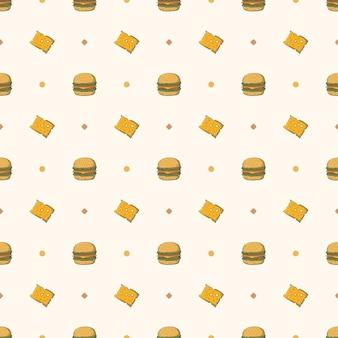 Padrão sem emenda de hambúrguer de queijo