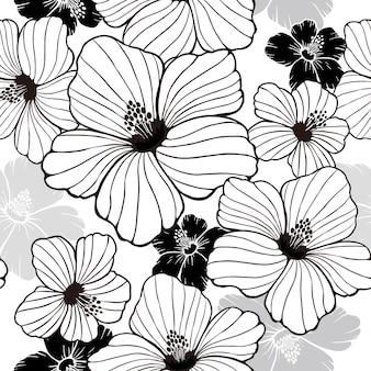 Padrão sem emenda de hibisco de simplicidade em preto e branco