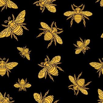 Padrão sem emenda de hohey abelha bordado dourado