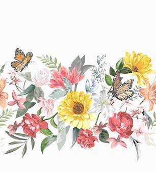 Padrão sem emenda de horizonte colorido de flores e borboletas