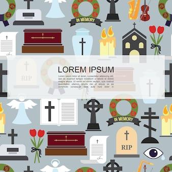 Padrão sem emenda de ícones coloridos funerários planos