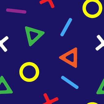Padrão sem emenda de ícones de controle de jogador. ícones multicoloridos em fundo azul