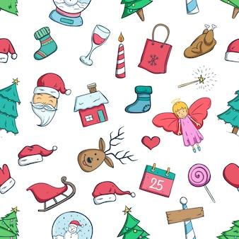 Padrão sem emenda de ícones de natal doodle ou elementos