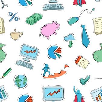 Padrão sem emenda de ícones de negócios com estilo doodle colorido