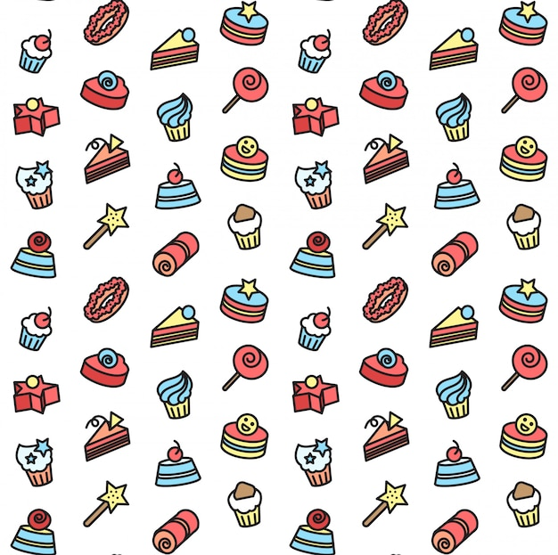 Padrão sem emenda de ícones de padaria e bolo. doce, doce conjunto.
