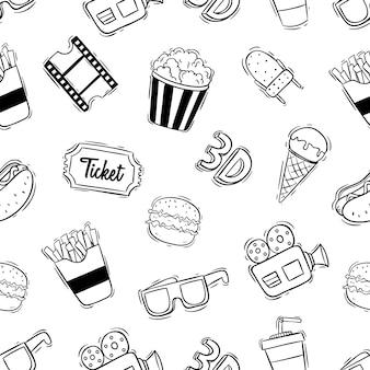 Padrão sem emenda de ícones do cinema com estilo doodle